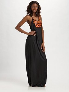 tbags beaded applique maxi dress black