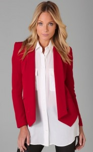 red blazer fitted jacket